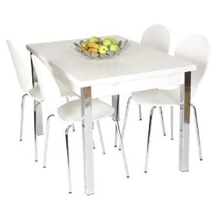 Designer White Extending Dining Table 120cm ext to 187cm with Four Chairs